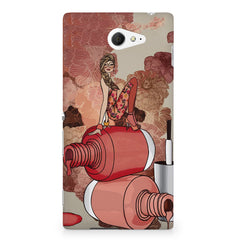 Girl on nail paints sketch design Sony Experia M2 S50H printed back cover