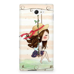 Girl swinging sketch design Sony Experia M2 S50H printed back cover