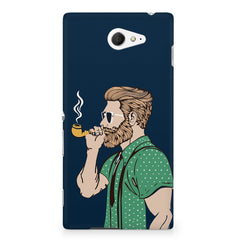 Pipe smoking beard guy design Sony Experia M2 S50H printed back cover