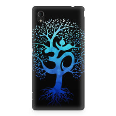 A beautiful blue tree with Om inscribed Sony Xperia Z5/Z5 dual hard plastic printed back cover