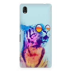 A funny, colourful yet cool portrait of a tiger wearing reflectors. Sony Xperia Z2 hard plastic printed back cover