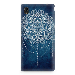 Ethnic design on blue pattern Sony Xperia M4 aqua printed back cover