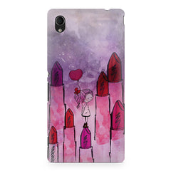 Girl with lipsticks sketch design Sony Xperia M4 aqua printed back cover