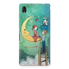 Couple on moon sketch design Sony Xperia M4 aqua printed back cover