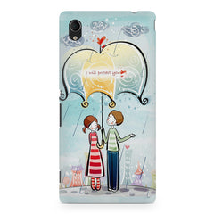Couple under umbrella sketch design Sony Xperia M4 aqua printed back cover
