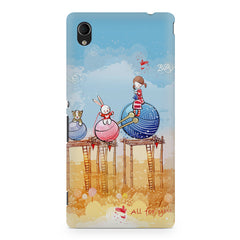 Woollen ball ride sketch design Sony Xperia M4 aqua printed back cover