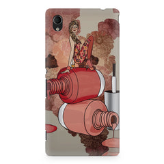 Girl on nail paints sketch design Sony Xperia M4 aqua printed back cover