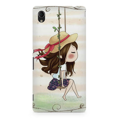 Girl swinging sketch design Sony Xperia M4 aqua printed back cover