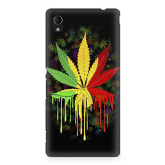 Marihuana colour contrasting pattern design Sony Xperia M4 aqua printed back cover
