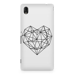 Black & white geometrical heart design Sony Xperia M4 aqua printed back cover