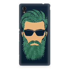 Beard guy with goggle sketch design Sony Xperia M4 aqua printed back cover