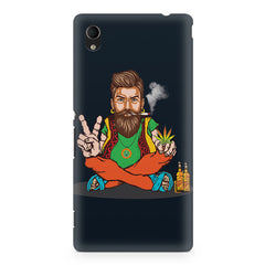 Beard guy smoking sitting design Sony Xperia M4 aqua printed back cover
