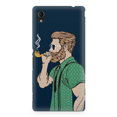 Pipe smoking beard guy design Sony Xperia M4 aqua printed back cover