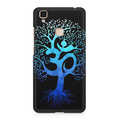 A beautiful blue tree with Om inscribed Vivo V3 hard plastic printed back cover