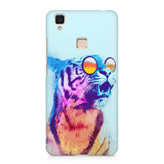 A funny, colourful yet cool portrait of a tiger wearing reflectors. Vivo V3 Max hard plastic printed back cover