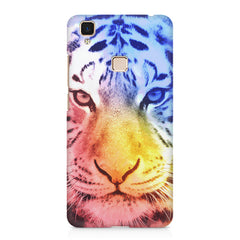 Colourful Tiger Design Vivo V3 hard plastic printed back cover