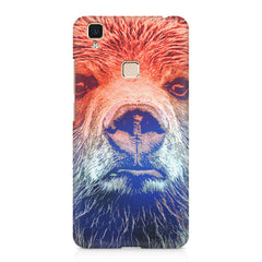 Zoomed Bear Design  Vivo V3 hard plastic printed back cover