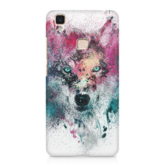 Splashed colours Wolf Design Vivo V3 hard plastic printed back cover