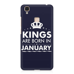 Kings are born in January design    Vivo V3 hard plastic printed back cover