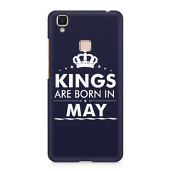 Kings are born in May design    Vivo V3 hard plastic printed back cover