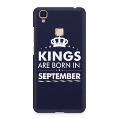 Kings are born in September design    Vivo V3 hard plastic printed back cover