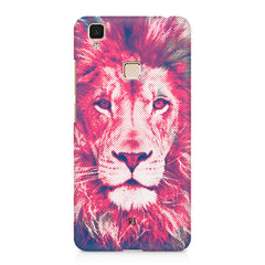 Zoomed pixel look of Lion design Vivo V3 hard plastic printed back cover