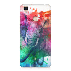 colourful portrait of Elephant Vivo V3 hard plastic printed back cover