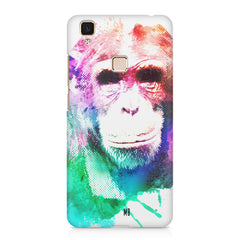 Colourful Monkey portrait Vivo V3 hard plastic printed back cover