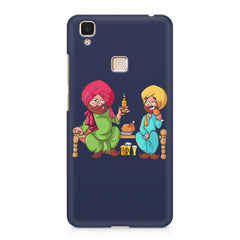 Punjabi sardars with chicken and beer avatar Vivo V3 hard plastic printed back cover