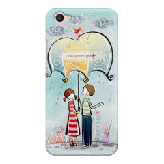 Couple under umbrella sketch design Vivo V5 printed back cover