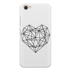 Black & white geometrical heart design Vivo V5 printed back cover