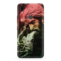 Portrait of a man with an intense look, smoking a cigar  Vivo V9 hard plastic printed back cover