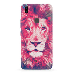 Zoomed pixel look of Lion design Vivo X21 hard plastic printed back cover