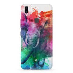 colourful portrait of Elephant Vivo V9 hard plastic printed back cover