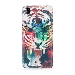 Tiger with a ferocious look Moto One Power(P30 Note) hard plastic all side printed back cover.
