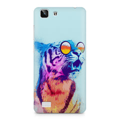 A funny, colourful yet cool portrait of a tiger wearing reflectors. Vivo X5 hard plastic printed back cover