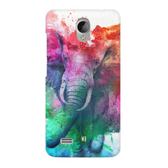 colourful portrait of Elephant Vivo Y21L hard plastic printed back cover