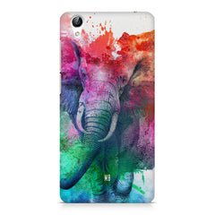 colourful portrait of Elephant Vivo Y51L hard plastic printed back cover