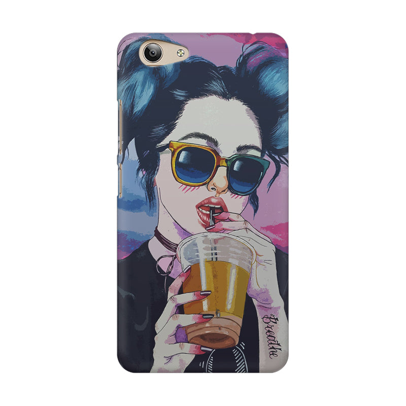 check out 81f59 c9468 Girl drinking juice sketch design Vivo Y53 printed back cover