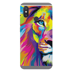 Colourfully Painted Lion design,  Xiaomi Mi 8 hard plastic printed back cover