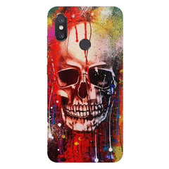 Skull design  with Holi colours drippingXiaomi Mi 8 hard plastic printed back cover