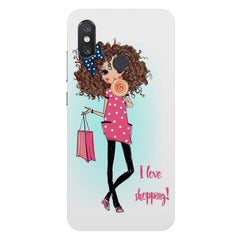 I love Shopping Girly design Xiaomi Mi 8 hard plastic printed back cover