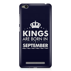 Kings are born in September design all side printed hard back cover by Motivate box Xiaomi Redmi 3s hard plastic all side printed back cover.