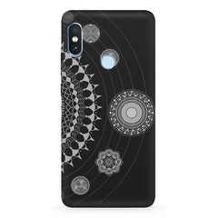 Ethnic design white on grey pattern Xiaomi MI A2, 20 girly cases all side printed hard back cover by Motivate box Xiaomi MI A2, 20 girly cases hard plastic printed back cover.