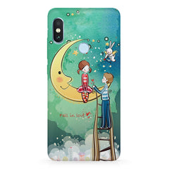 Couple on the moon, Fall in Love sketch design Xiaomi MI A2, 20 girly cases all side printed hard back cover by Motivate box Xiaomi MI A2, 20 girly cases hard plastic printed back cover.