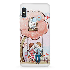 Couple on a swing Romantic design Xiaomi MI A2, 20 girly cases hard plastic printed back cover.