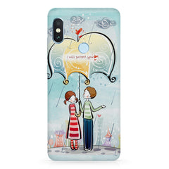 I will protect you, Couple in the rain design Xiaomi MI A2, 20 girly cases hard plastic printed back cover.