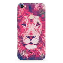 Zoomed pixel look of Lion design Redmi 5 hard plastic printed back cover.