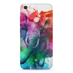 colourful portrait of Elephant Redmi 5 hard plastic printed back cover.