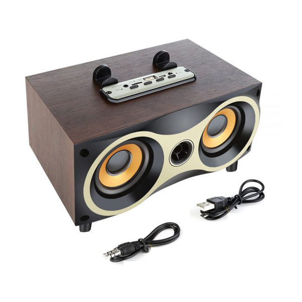 Motivate Box, Wooden Bluetooth Wireless Speaker, Power Bass Sub-woofer/FM/AUX Line/TF Card with Built-in Mic